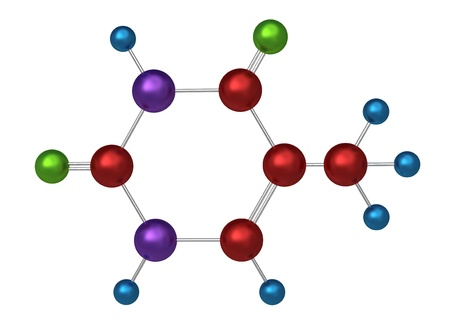 thymine: Molecule of thymine, key component in the formation of stable DNA and RNA molecules, 3d model