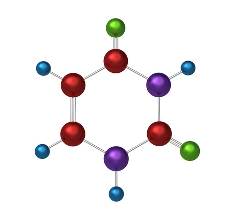 uracil: Molecule of uracil, key component in the formation of stable DNA and RNA molecules, 3d model
