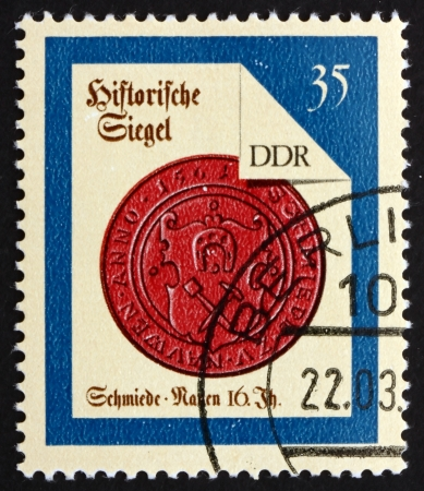 ddr: GDR - CIRCA 1988: a stamp printed in GDR shows Nauen Smith, Seal from 16th Century, circa 1988