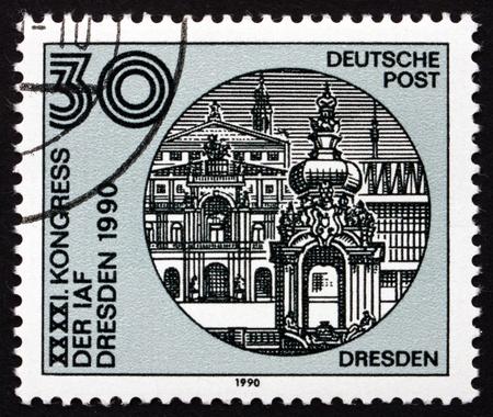 astronautics: GDR - CIRCA 1988: a stamp printed in GDR shows Dresden Skyline, International Astronautics Federation, 41st Congress, Dresden, circa 1988 Editorial