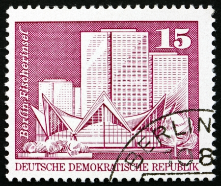GDR - CIRCA 1973: a stamp printed in GDR shows Fisherman�s Island, Berlin, circa 1973 Stock Photo - 16746277