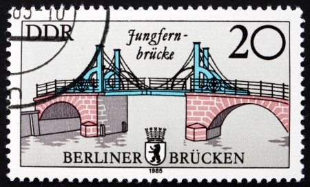 east berlin: GDR - CIRCA 1985: a stamp printed in GDR shows Jungfern Bridge, Bridges in East Berlin, circa 1985