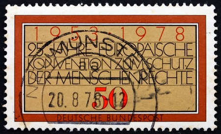 GERMANY - CIRCA 1978: a stamp printed in the Germany shows European Human Rights Convention, 25th Anniversary, circa 1978 Stock Photo - 16870119