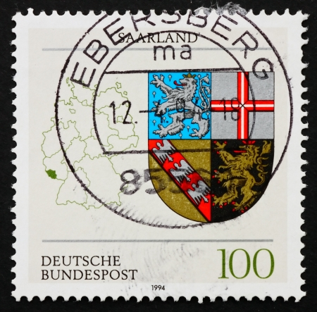 saar: GERMANY - CIRCA 1994: a stamp printed in the Germany shows Coat of Arms of Saar, State of the Federal Republic of Germany, circa 1994