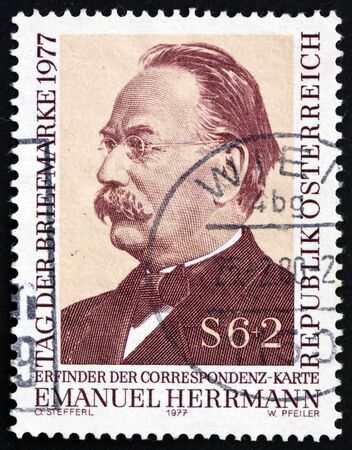 economist: AUSTRIA - CIRCA 1977: a stamp printed in the Austria shows Emanuel Herrmann, Economist, Invented Postal Card, circa 1977