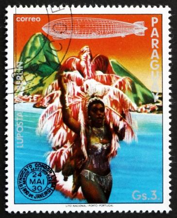 graf: PARAGUAY - CIRCA 1977: a stamp printed in Paraguay shows Dancer, Rio de Janeiro, Brazil, Graf Zeppelin 1st South America Flight, circa 1977