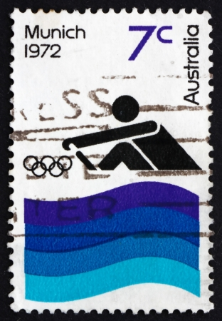 AUSTRALIA - CIRCA 1972: a stamp printed in the Australia shows Rowing, 20th Olympic Games, Munich, Germany, circa 1972