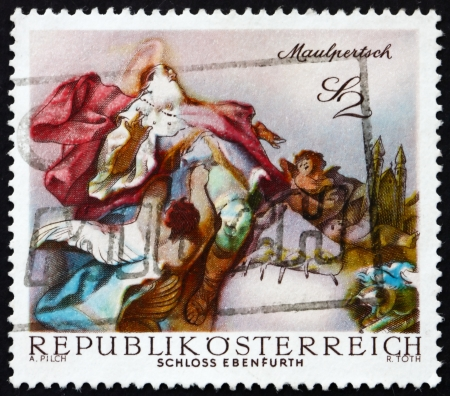 AUSTRIA - CIRCA 1968: a stamp printed in the Austria shows St. Leopold Carried into Heaven, by Maulpertsch, Baroque Fresco, Ebenfurth Castle Chapel, circa 1968 Stock Photo - 16943644