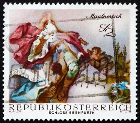 AUSTRIA - CIRCA 1968: a stamp printed in the Austria shows St. Leopold Carried into Heaven, by Maulpertsch, Baroque Fresco, Ebenfurth Castle Chapel, circa 1968 Stock Photo - 16943644