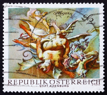 AUSTRIA - CIRCA 1968: a stamp printed in the Austria shows Vanquished Demons, by Paul Troger, Altenburg Abbey, circa 1968 Stock Photo - 16943646