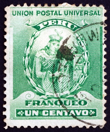 founder: PERU - CIRCA 1898: a stamp printed in the Peru shows Manco Capac, Founder of Inca Dynasty, circa 1898 Editorial