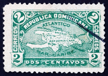 DOMINICAN REPUBLIC - CIRCA 1900: a stamp printed in Dominican Republic shows Map of Hispaniola, circa 1900