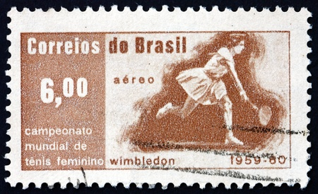BRAZIL - CIRCA 1960: a stamp printed in the Brazil shows Maria E. Bueno, Victory at Wimbledon of Maria E. Bueno, Womens Singles Tennis Champion, circa 1960