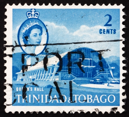 TRINIDAD AND TOBAGO - CIRCA 1960: a stamp printed in Trinidad and Tobago shows Queen's Hall, Port of Spain, circa 1960