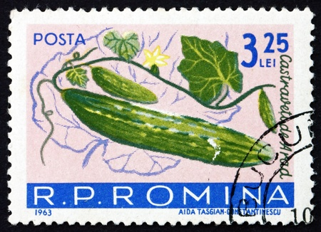 ROMANIA - CIRCA 1963: a stamp printed in the Romania shows Cucumbers, Cucumis Sativus, Fruit, circa 1963 Stock Photo - 16979317