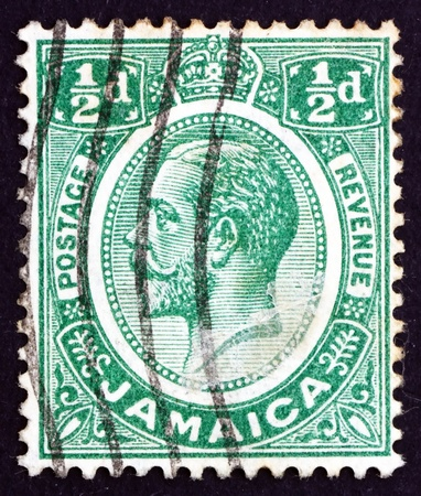 JAMAICA - CIRCA 1927: a stamp printed in Jamaica shows King George V, King of the United Kingdom and the British Dominions, circa 1927 Stock Photo - 17003019