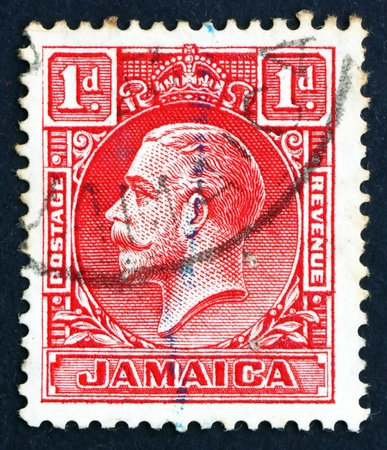 dominions: JAMAICA - CIRCA 1921: a stamp printed in Jamaica shows King George V, King of the United Kingdom and the British Dominions, circa 1921