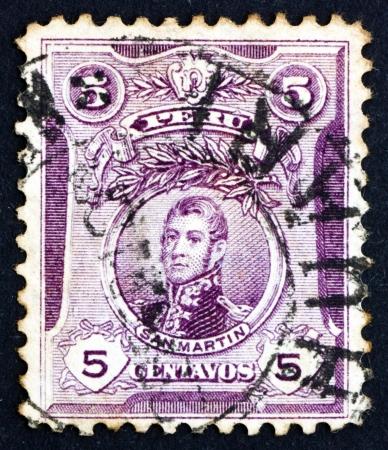 jose de san martin: PERU - CIRCA 1909: a stamp printed in the Peru shows Jose de San Martin, 1st President of Peru, circa 1909