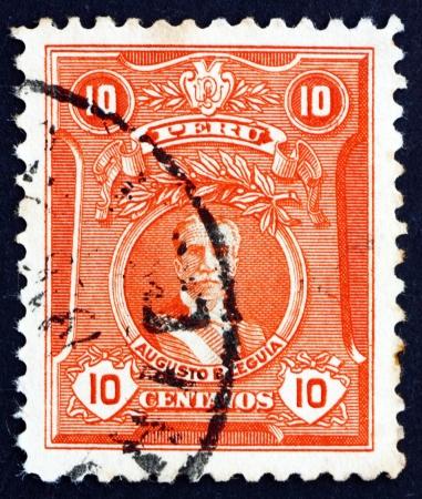 bernardino: PERU - CIRCA 1924: a stamp printed in the Peru shows Augusto Bernardino Leguia y Salcedo, 65th President of Peru, 1908 - 1912, circa 1924