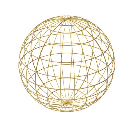Wired sphere, isolated on white, 3d render photo