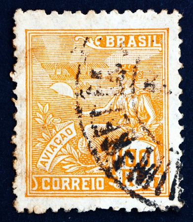 allegory: BRAZIL - CIRCA 1926: a stamp printed in the Brazil shows Allegory of Aviation, circa 1926