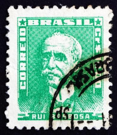 jurist: BRAZIL - CIRCA 1954: a stamp printed in the Brazil shows Rui Barbosa de Oliveira, Writer, Jurist and Politician, circa 1954