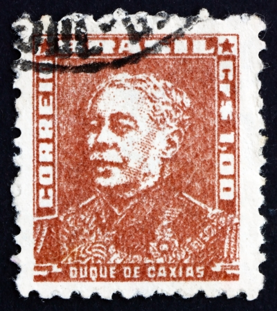 BRAZIL - CIRCA 1954: a stamp printed in the Brazil shows Duke of Caxias, Luis Alves de Lima e Silva, Officer, Politician and Monarchist, Army Marshal, circa 1954 Stock Photo - 17003834