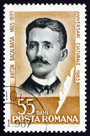 ROMANIA - CIRCA 1965: a stamp printed in the Romania shows Anton Bacalbasa, Writer, Journalist and Translator, circa 1965 Stock Photo - 17044863