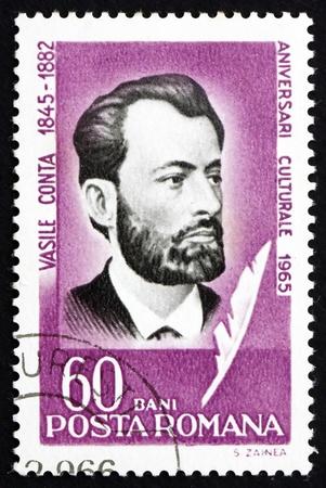 ROMANIA - CIRCA 1965: a stamp printed in the Romania shows Vasile Conta, Philosopher, Poet and Politician, circa 1965 Stock Photo - 17044861