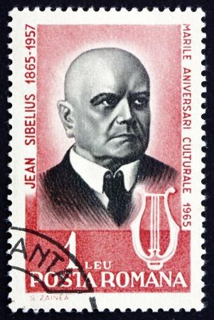 sibelius: ROMANIA - CIRCA 1965: a stamp printed in the Romania shows Jean Sibelius, Finnish Composer, circa 1965