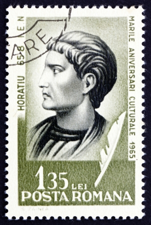 ROMANIA - CIRCA 1965: a stamp printed in the Romania shows Quintus Horatius Flaccus, Horace, Roman Poet, circa 1965 Stock Photo - 17044866