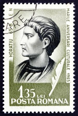 horace: ROMANIA - CIRCA 1965: a stamp printed in the Romania shows Quintus Horatius Flaccus, Horace, Roman Poet, circa 1965