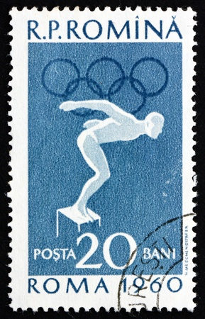 ROMANIA - CIRCA 1960: a stamp printed in the Romania shows Swimming, Summer Olympics, Roma 60, circa 1960 Stock Photo - 17063370