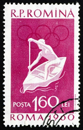ROMANIA - CIRCA 1960: a stamp printed in the Romania shows Canoeing, Summer Olympics, Roma 60, circa 1960 Stock Photo - 17063376