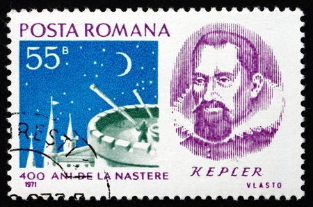kepler: ROMANIA - CIRCA 1971: a stamp printed in the Romania shows Johannes Kepler, Astronomer, and Observation Tower, circa 1971