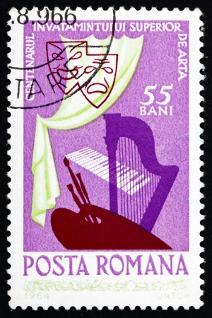 ROMANIA - CIRCA 1964: a stamp printed in the Romania shows Masks, Curtain, Harp, Keyboard and Palette, Centenary of the Academy of Art, circa 1964 Stock Photo - 17063400