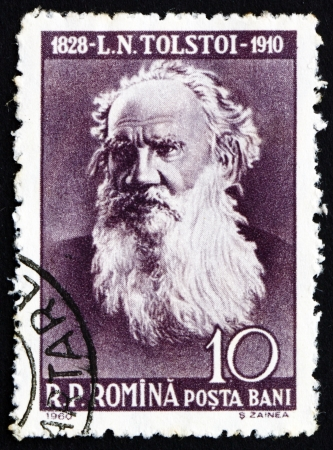 essayist: ROMANIA - CIRCA 1960: a stamp printed in the Romania shows Leo Tolstoy, Lev Nikolayevich Tolstoy, Russian Writer, circa 1960