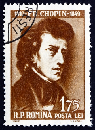 ROMANIA - CIRCA 1960: a stamp printed in the Romania shows Frederick Chopin, Fryderyk Franciszek Chopin, Polish Composer and Virtuoso Pianist, circa 1960 Stock Photo - 17063404
