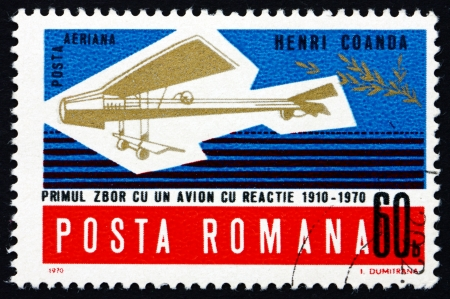 coanda: ROMANIA - CIRCA 1970: a stamp printed in the Romania shows Henri Coandas Model Plane, 60th Anniversary of Henri Coandas First Flight, circa 1970 Editorial