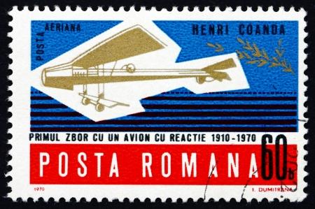 coanda: ROMANIA - CIRCA 1970: a stamp printed in the Romania shows Henri Coandas Model Plane, 60th Anniversary of Henri Coandas First Flight, circa 1970 Editorial