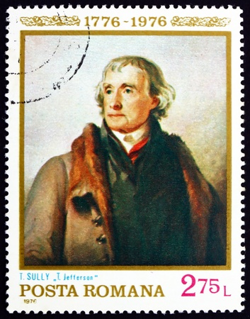 sully: ROMANIA - CIRCA 1976: a stamp printed in the Romania shows Thomas Jefferson, Painting by Thomas Sully, American Bicentennial, circa 1976