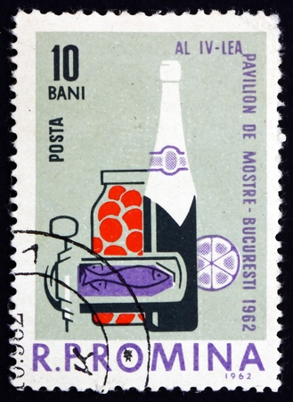 ROMANIA - CIRCA 1962: a stamp printed in the Romania shows Food and Drink, Industrial Design, 4th Sample Fair, Bucharest, circa 1962