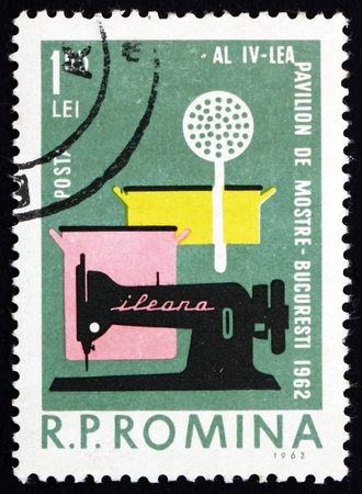 household goods: ROMANIA - CIRCA 1962: a stamp printed in the Romania shows Household Goods, Industrial Design, 4th Sample Fair, Bucharest, circa 1962