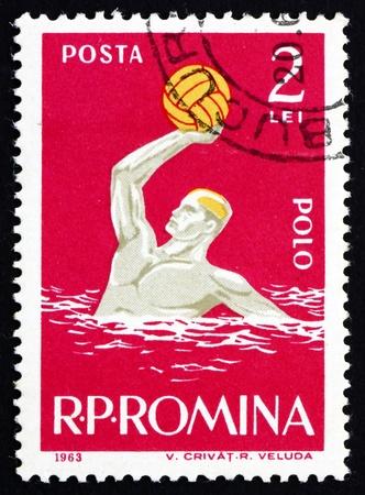 waterpolo: RUMANIA - CIRCA 1963: un sello impreso en Rumania muestra Hombre que juega water polo, Deporte, alrededor del año 1963