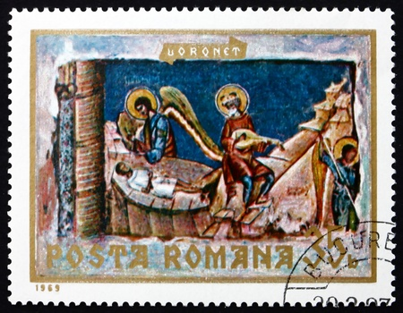 ROMANIA - CIRCA 1969: a stamp printed in the Romania shows The Last Judgement, Detail, Fresco from Voronet Monastery, Wall Painting, circa 1969 Stock Photo - 17228363