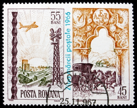 ROMANIA - CIRCA 1966: a stamp printed in the Romania shows Plane Aproaching Airport and Coach Leaving Gate, Stamp Day, circa 1966 Stock Photo - 17228365