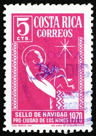 COSTA RICA - CIRCA 1970: a stamp printed in Costa Rica shows Christ Child and Star, circa 1970