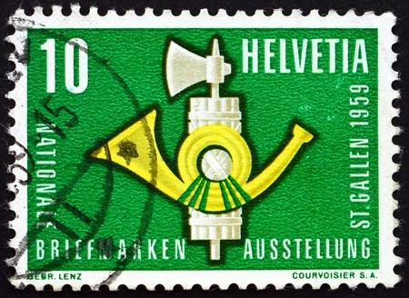 galla: SVIZZERA - CIRCA 1959: un timbro stampato in Svizzera mostra Fasci e Post Horn, nazionale Philatelistic Exhibition, San Gallo, circa 1959