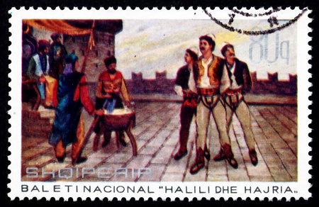 ALBANIA - CIRCA 1971: a stamp printed in the Albania shows Execution of Halili, Scene from Halili and Hajria Ballet, , circa 1971 Stock Photo - 17326390