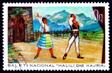 albanian: ALBANIA - CIRCA 1971: a stamp printed in the Albania shows Brother and Sister, Scene from Halili and Hajria Ballet, , circa 1971